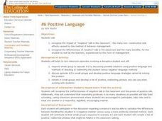 Positive Language Lesson Plan