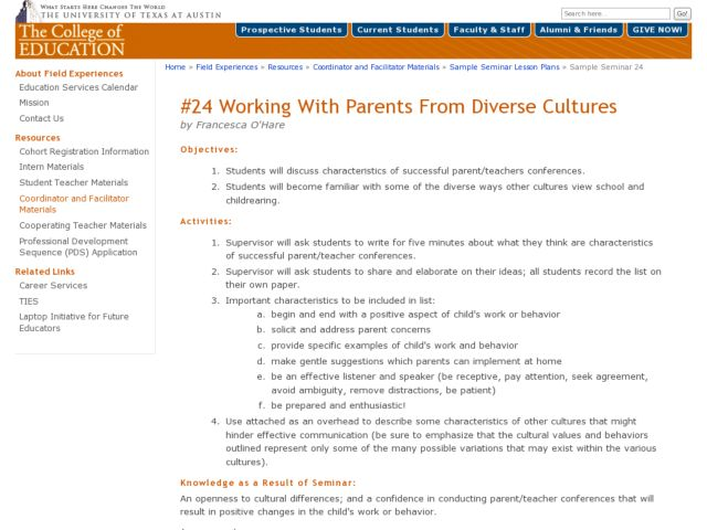Working With Parents From Diverse Cultures Lesson Plan