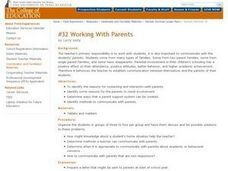 Working with Parents Lesson Plan