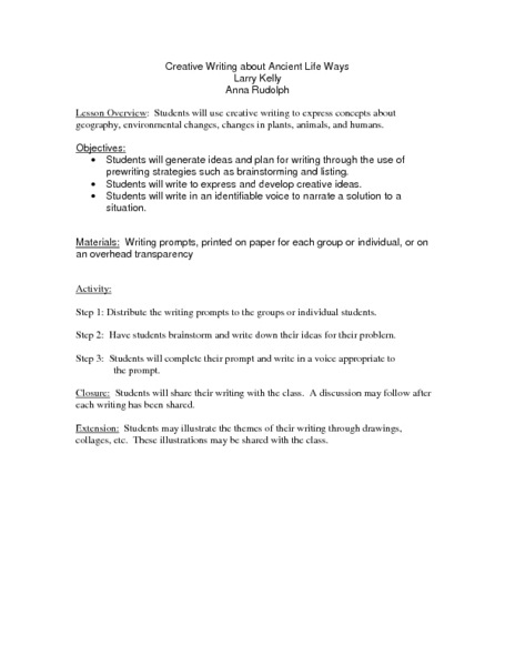 Creative Writing about Ancient Life Ways Lesson Plan