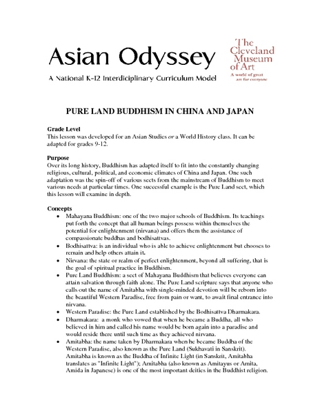 Pure Land Buddhism in China And Japan Lesson Plan