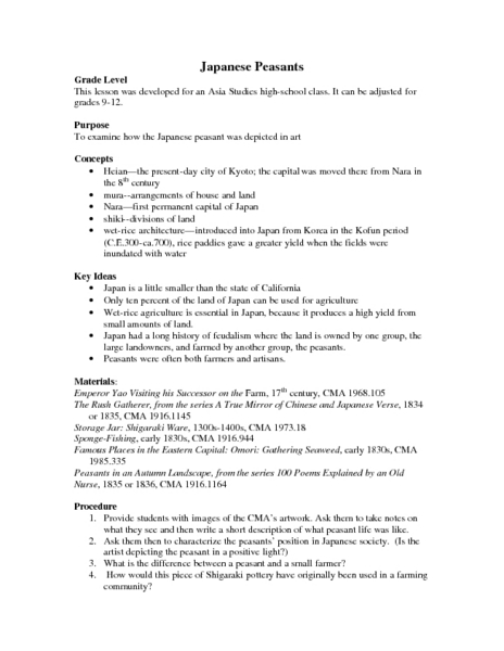 Japanese Peasants Lesson Plan
