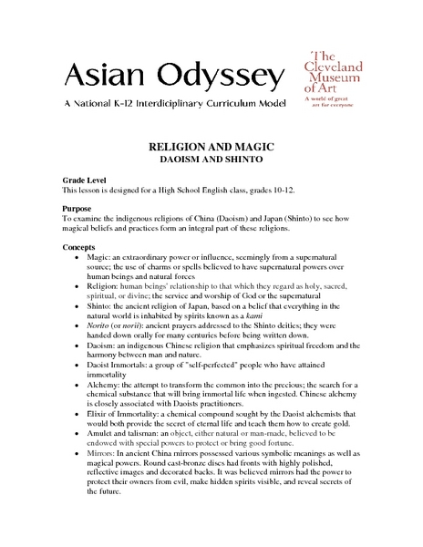 Religion And Magic Lesson Plan