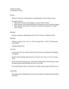 Lesson Plan for China Lesson Plan