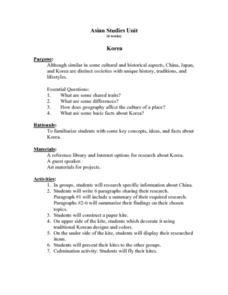 Asian Studies Unit Korea Lesson Plan