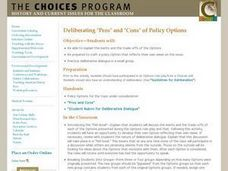 "Deliberating ""Pros"" and ""Cons"" of Policy Options Lesson Plan"