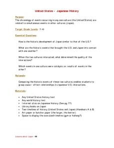 United States-Japan History Lesson Plan