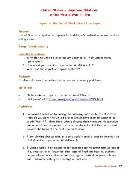 Impact of the End of World War II on Japan Lesson Plan