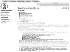Save the Last Work for Me Lesson Plan