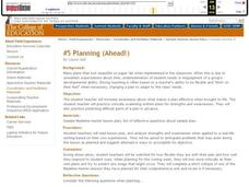 Planning Ahead Lesson Plan