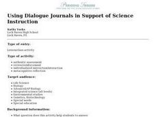 Using Dialogue Journals in Support of Science Instruction Lesson Plan