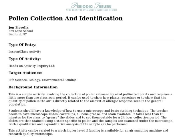 Pollen Collection And Identification Lesson Plan
