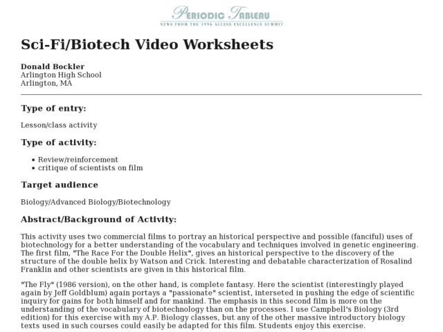 Sci-Fi/Biotech Video Worksheets Lesson Plan