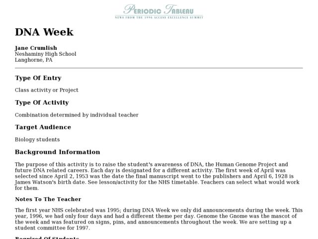 DNA Week Lesson Plan