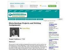 Biotechnology Projects and Writing Assignments Lesson Plan