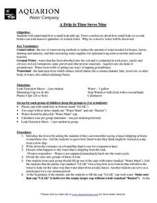 A Drip in Time Saves Nine Lesson Plan