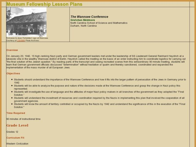 The Wannsee Conference Lesson Plan