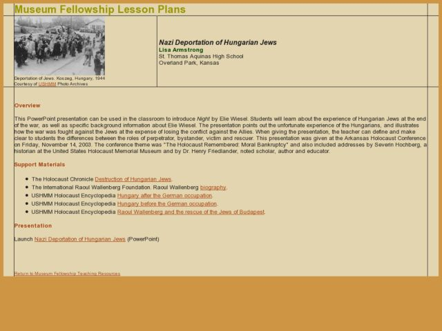 Nazi Deportation of Hungarian Jews Lesson Plan