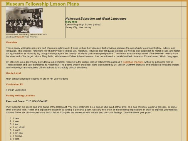 Holocaust Education and World Languages Lesson Plan