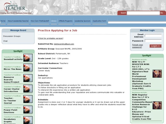Practice Applying for a Job Lesson Plan