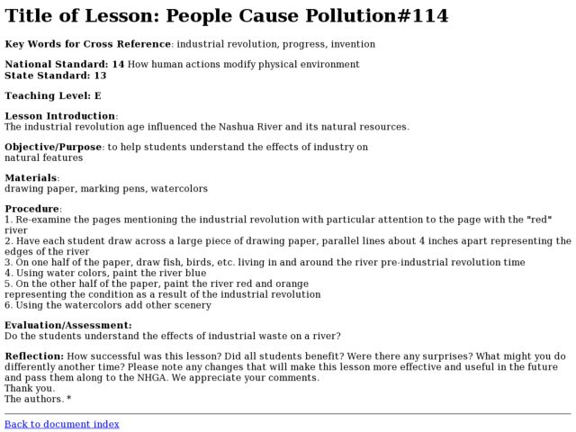 People Cause Pollution Lesson Plan