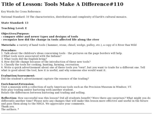Tools Make A Difference Lesson Plan