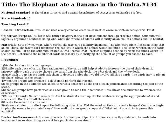 The Elephant Ate a Banana in the Tundra Lesson Plan