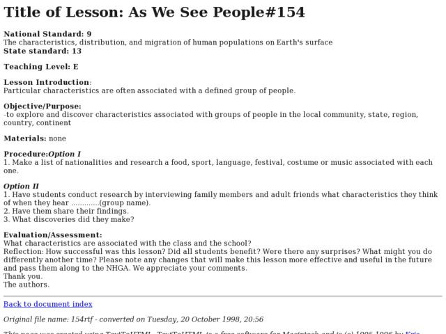 As We See People#154 Lesson Plan