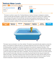 Bathtub Water Levels—Least Squares Regression Lesson Plan