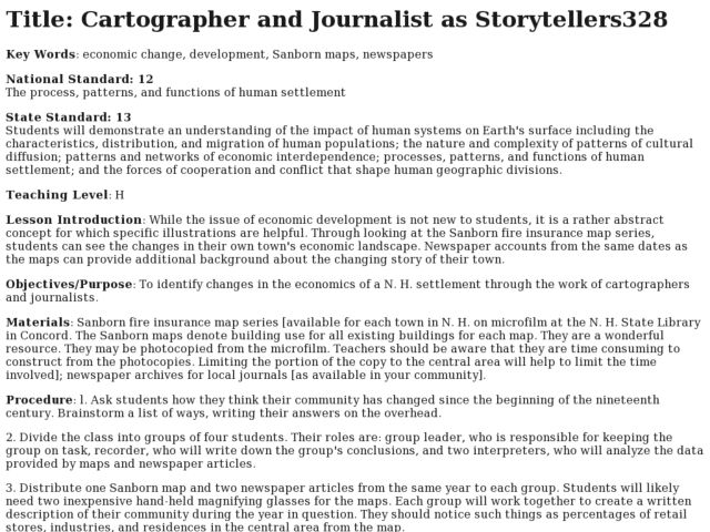 Cartographer and Journalish as Storytellers Lesson Plan