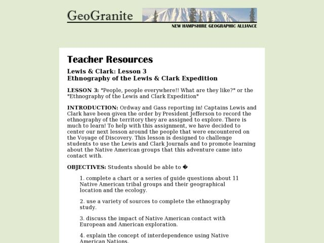 Ethnography of the Lewis & Clark Expedition Lesson Plan