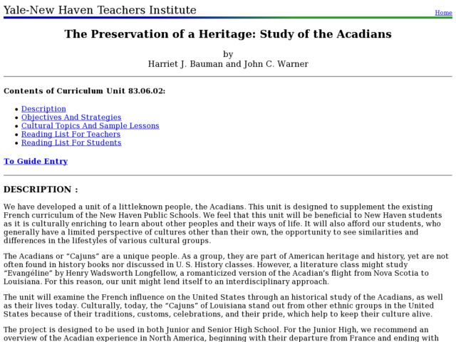 The Preservation of a Heritage: Study of the Acadians Lesson Plan