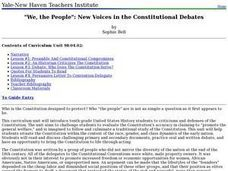 """We, the People"": New Voices in the Constitutional Debates Lesson Plan"