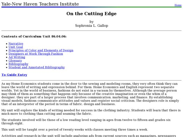 On the Cutting Edge Lesson Plan
