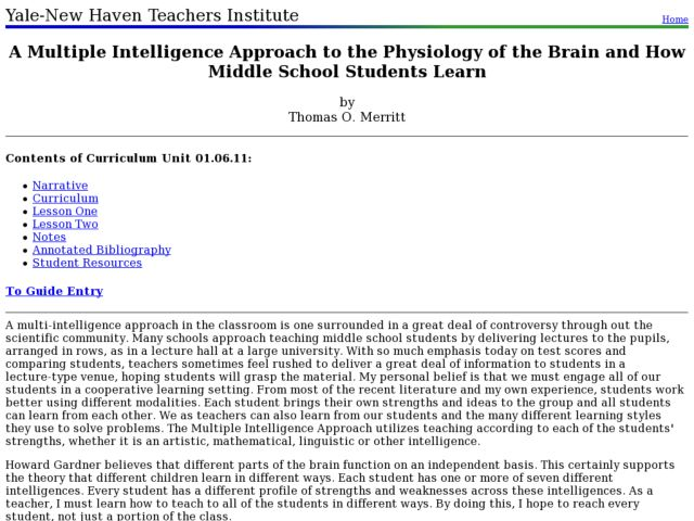 A Multiple Intelligence Approach to the Physiology of the Brain and How Middle School Students Learn Lesson Plan