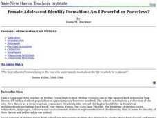 Female Adolescent Identity Formation: Am I Powerful or Powerless? Lesson Plan