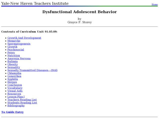 Dysfunctional Adolescent Behavior Lesson Plan