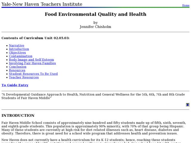 Food Environmental Quality And Health Lesson Plan