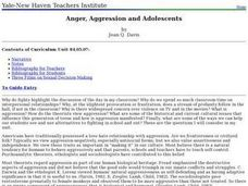 Anger, Aggression and Adolescents Lesson Plan