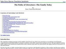 The Paths of Literature: The Family Today Lesson Plan
