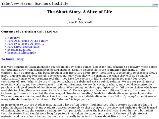 The Short Story: A Slice of Life Lesson Plan