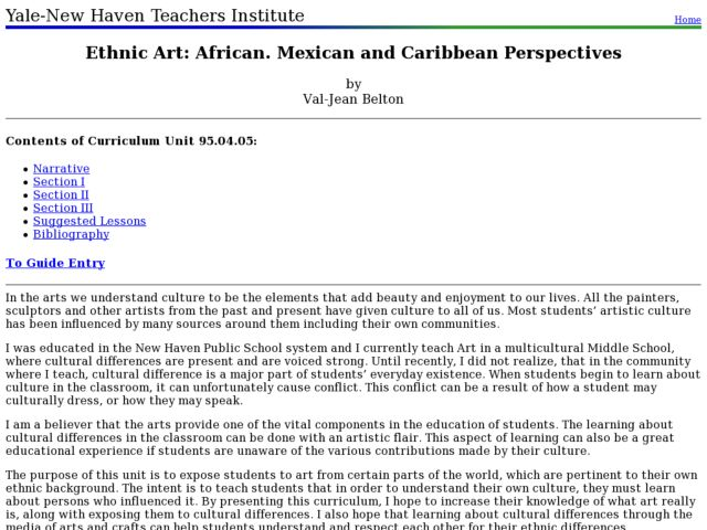 Ethnic Art: African. Mexican and Caribbean Perspectives Lesson Plan