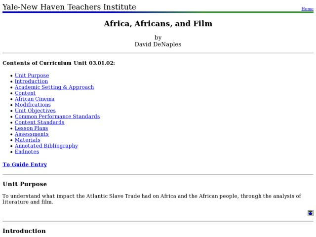 Africa, Africans, and Film Lesson Plan