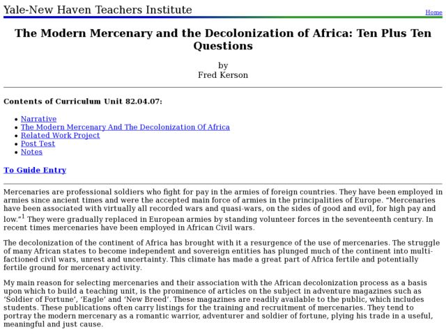 The Modern Mercenary and the Decolonization of Africa: Ten Plus Ten Questions Lesson Plan