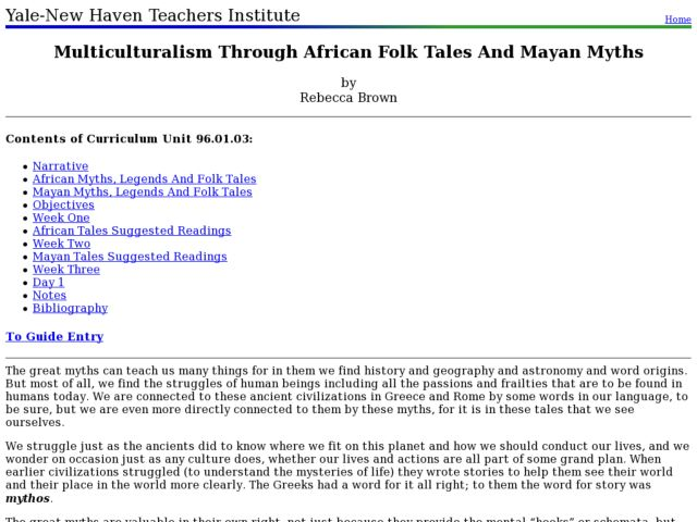 Multiculturalism Through African Folk Tales And Mayan Myths Lesson Plan