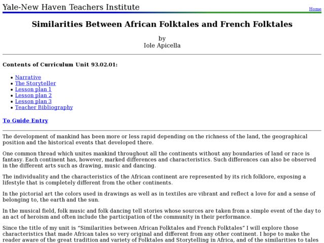 Similarities Between African Folktales And French Folktales Lesson Plan