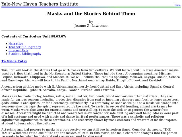 Masks and the Stories Behind Them Lesson Plan