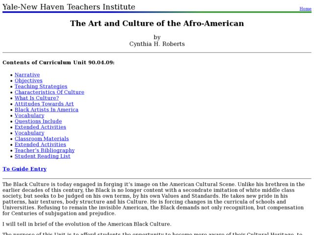 The Art and Culture of the Afro-American Lesson Plan