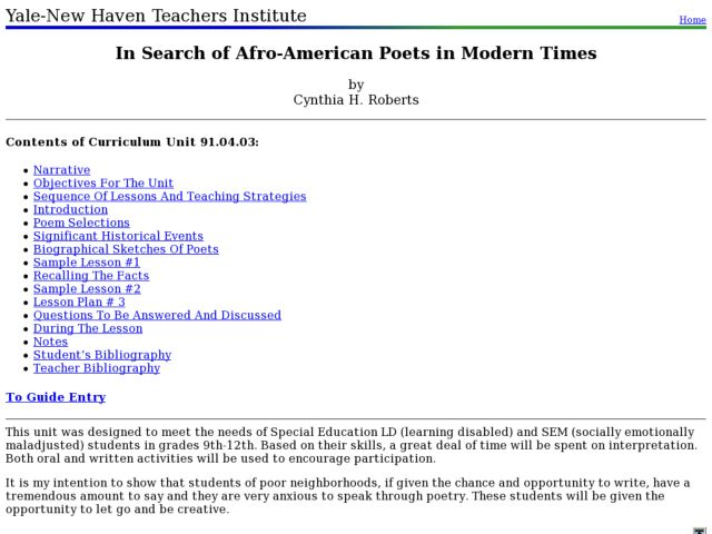 In Search of Afro-American Poets in Modern Times Lesson Plan