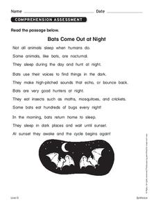 Bats Come Out at Night Worksheet